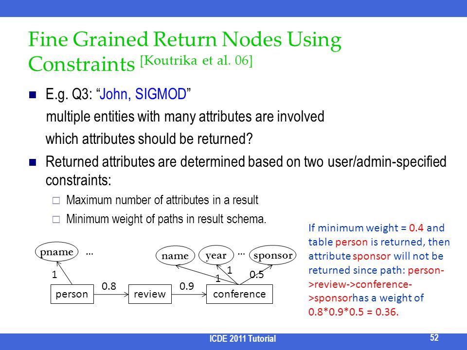 Fine Grained Return Nodes Using Constraints [Koutrika et al. 06]